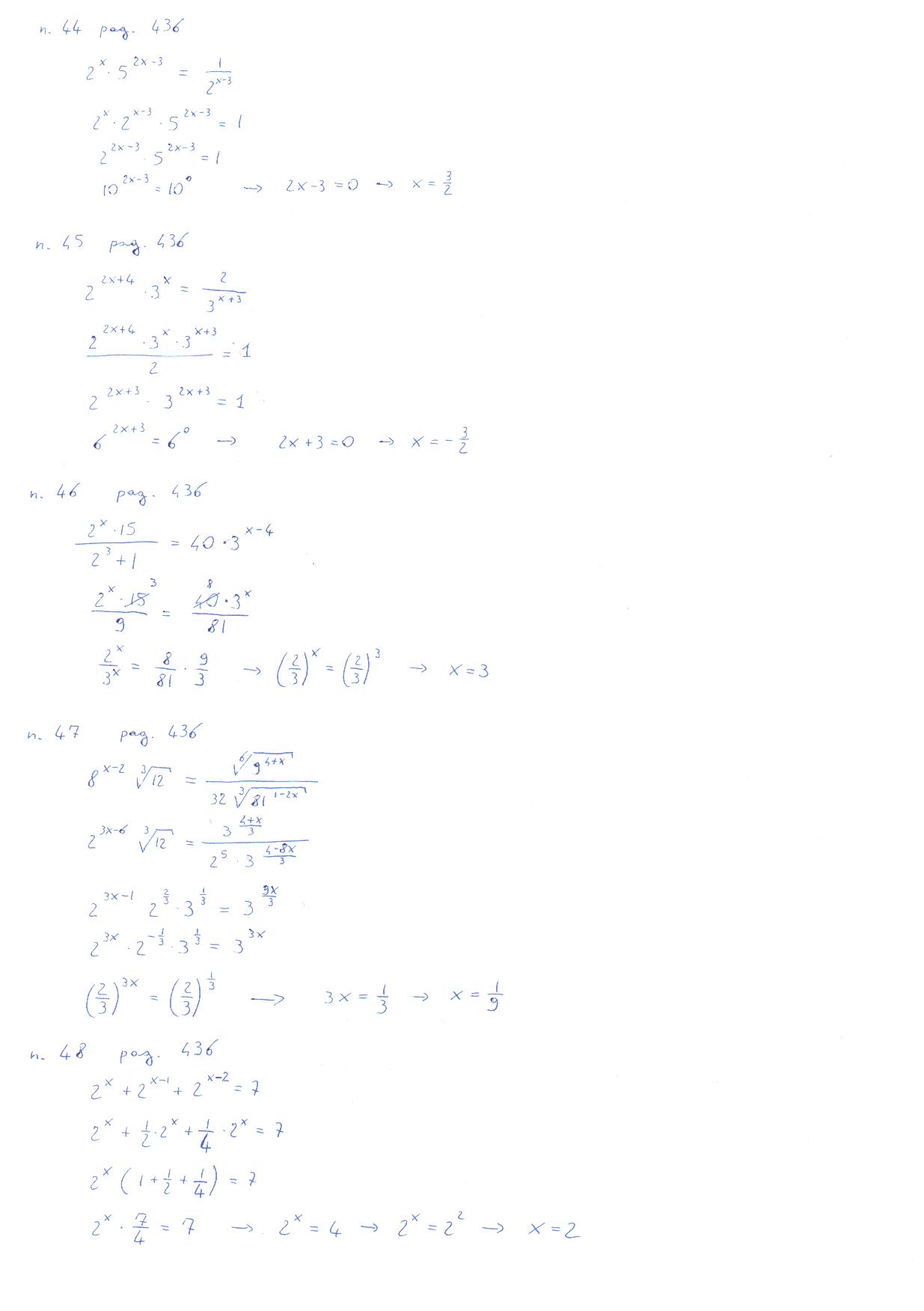 Esercizi Sulle Equazioni Esponenziali